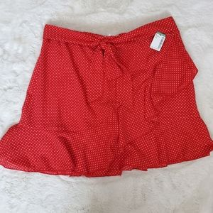Twik Red and white polkadot ruffle mini skirt sz L
